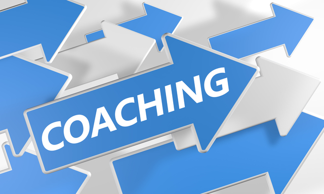 Coaching 3d render concept with blue and white arrows flying over a white background.